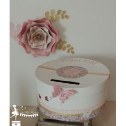 Lettre décorée 20 cm Liberty papillons doré, rose poudré & blanc