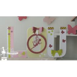 1 Lettre décorée 20 cm Fée rose gold pastel, vert anis et blanc