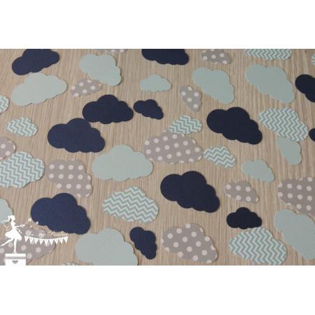 Sachet de confetti nuage bleu pastel gris et marine