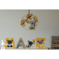 1 Lettre décorée 12cm koala jaune gris et blanc