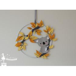Cercle décoré thème Koala jaune gris et blanc