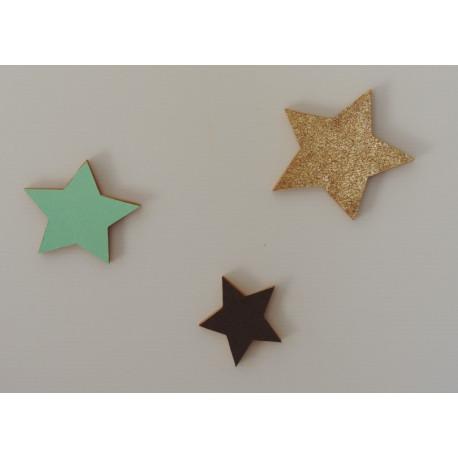 Lot de 3 étoiles bois vert mint chocolat et doré