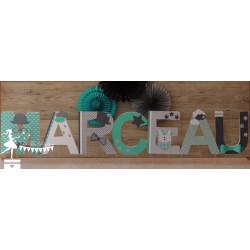 1 Lettre décorée 20 cm Dandy turquoise, gris et blanc