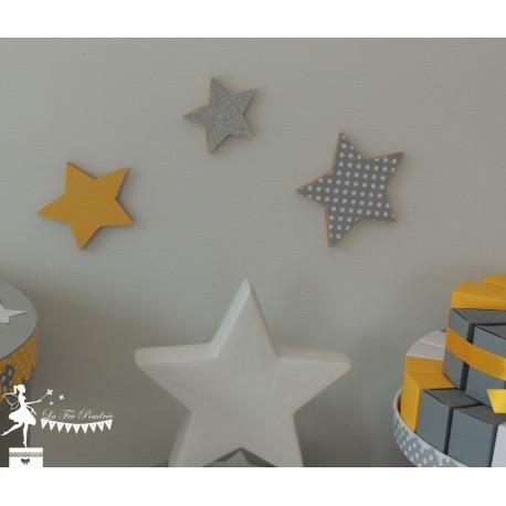 Lot de 3 étoiles bois jaune, gris et argent