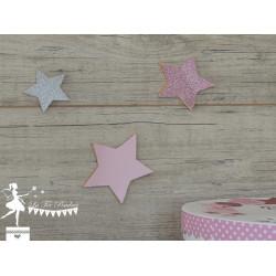 Lot de 3 étoiles bois rose pastel, gold et argent
