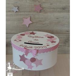 Urne CLASSIQUE étoile rose pastel, gold et blanc