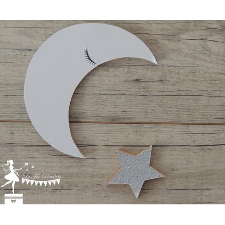 Lot Lune et étoile blanc neigeux et argent