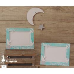 1 Cadre Parrain/Marraine Ange Bleu pastel et blanc