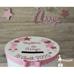 Prénom bois stylisé - Plaque de porte Etoile rose pastel, ros gold et gris