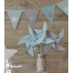 6 Moulins à vent tournants bleu pastels & gris