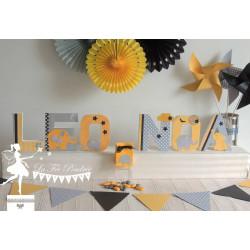 1 Lettre décorée 12cm étoile nuage et oiseau bleu blanc et gris