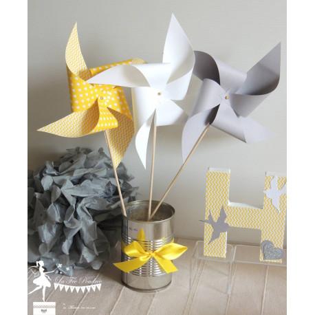 10 Moulins à vent jaune blanc et gris