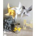 10 Moulins à vent jaunes blancs gris