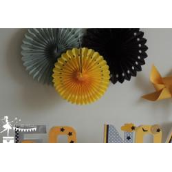 Lot de 3 pompons dentelle jaune, gris et noir
