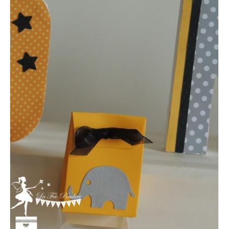 Boite à dragées jaune éléphant gris et ruban noir