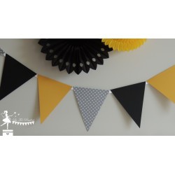Guirlande de fanions jaune gris et noir