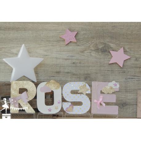 Lettre décorée 12cm étoiles rose ivoire et doré PRIX UNITAIRE