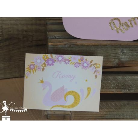 Faire part de naissance Cygne ivoire, rose et doré