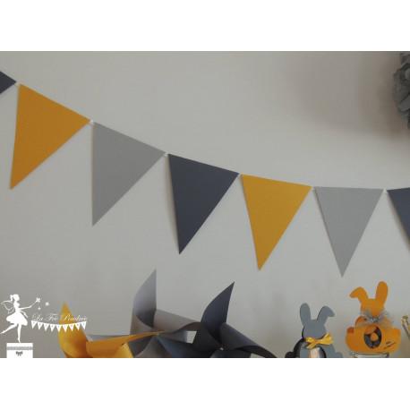 Guirlande de fanions jaune gris clair et foncé