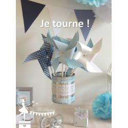 6 Moulins à vent tournants bleu marine, bleu pastel et blanc