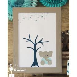 Arbre à empreintes thème étoile et éléphant gris, pétrole et bleu pastel