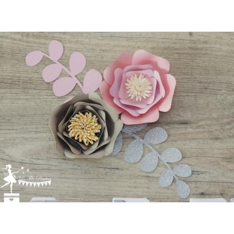 Décoration fleurs 3D rose, gris et argent LOT de 2