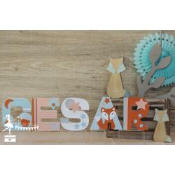 1 Lettre décorée 12cm Renard bleu pastel, orange et blanc