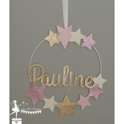 Cercle décoré prénom thème étoile rose pastel, rose gold, ivoire et doré