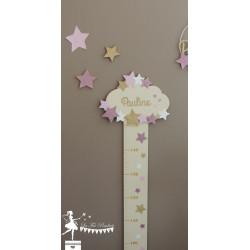 Toise en bois Etoile, nuage rose pastel, ivoire et doré personnalisable