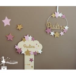 Déco murale bois Nuage et étoiles rose, rose gold et doré personnalisable
