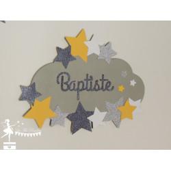 Déco murale bois Nuage et étoiles jaune, gris, blanc et argent personnalisable