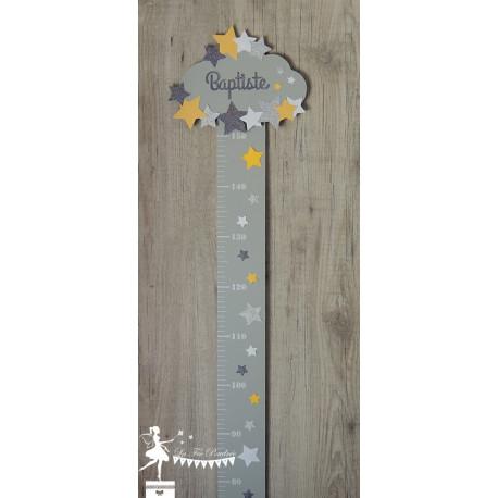 Toise en bois Etoile, nuage jaune, gris, blanc et argent personnalisable