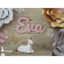 Prénom bois stylisé - Plaque de porte Rose pastel nacré