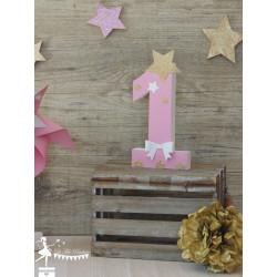 Chiffre en bois 20 cm thème étoile rose doré blanc