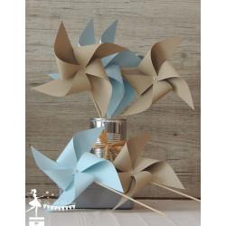 10 Moulins à vent bleu pastel et kraft