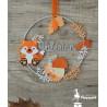 Cercle décoré prénom thème Renard orange, pêche, ivoire et argent