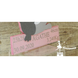 Déco murale bois Renard orange, ivoire, pêche et argent personnalisable