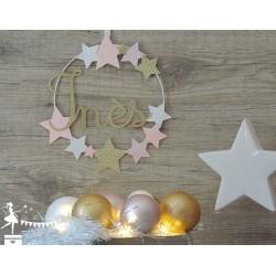 Cercle 20cm décoré prénom thème étoile rose pailleté, blanc et doré