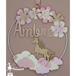 Cercle décoré 15cm Licorne Rose pastel et pailleté, ivoire et daim