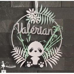 Cercle décoré 15cm Panda noir et blanc, vert pastel