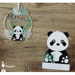 Déco murale bois Panda noir, blanc et vert pastel personnalisable