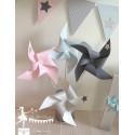 10 Moulins à vent rose bleu pastel gris décor étoile