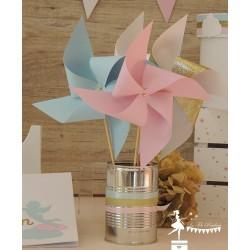 10 Moulins à vent rose, bleu, blanc et doré