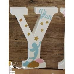 1 Initiale 30 cm  avec prénom thème Ange bleu pastel, blanc et doré
