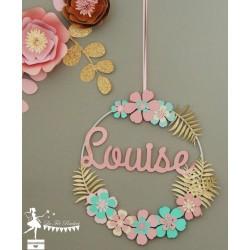 Cercle 20cm décoré prénom thème fleur rose et vert pastels, ivoire et doré