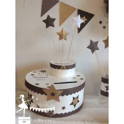 Urne LUXE étoile chocolat, blanc neigeux et doré