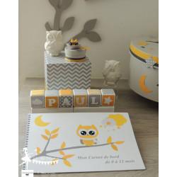 Carnet de naissance Hibou jaune gris