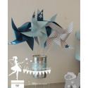 10 Moulins à vent bleu gris pétrole étoile