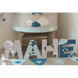 Lettre décorée 12cm Etoile nuage bleu gris pétrole PRIX UNITAIRE