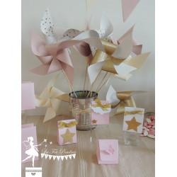 Boite à dragées rose nacrée étoile et ruban dorés